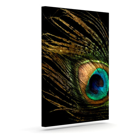 "Alison Coxon ""Peacock Black"" Outdoor Canvas Wall Art - KESS InHouse  - 1"