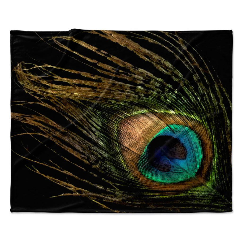 "Alison Coxon ""Peacock Black"" Fleece Throw Blanket"