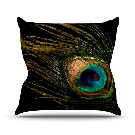 "Alison Coxon ""Peacock Black"" Throw Pillow - KESS InHouse  - 1"