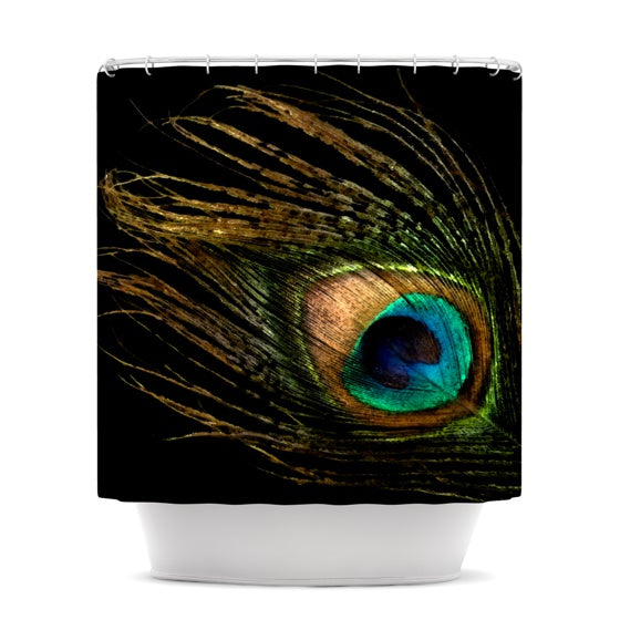 "Alison Coxon ""Peacock Black"" Shower Curtain - KESS InHouse"