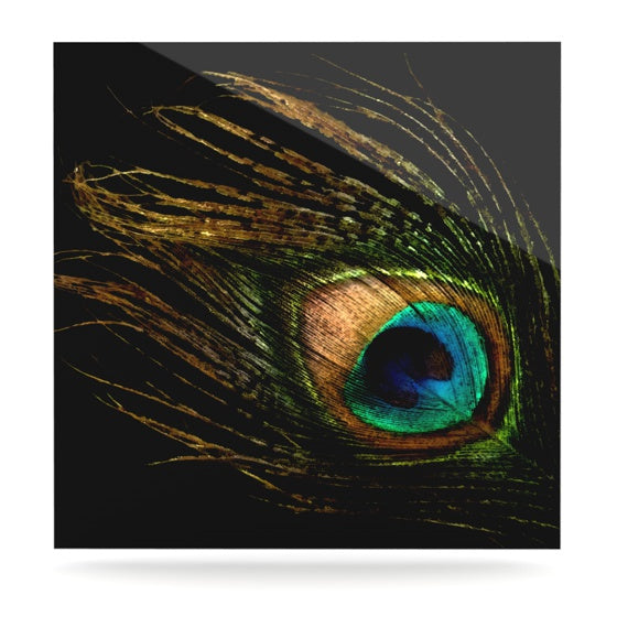 "Alison Coxon ""Peacock Black"" Luxe Square Panel - KESS InHouse  - 1"