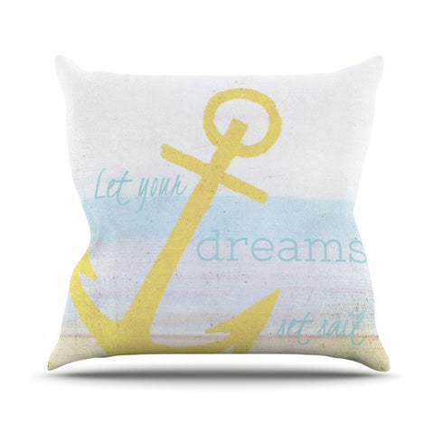 "Alison Coxon ""Let Your Dreams Set Sail"" Outdoor Throw Pillow - KESS InHouse  - 1"