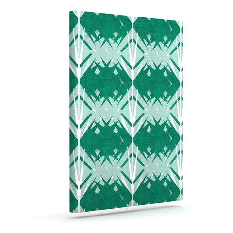 "Alison Coxon ""Diamond"" Teal White Outdoor Canvas Wall Art - KESS InHouse  - 1"
