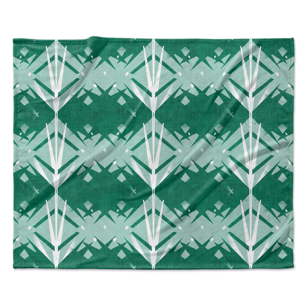 "Alison Coxon ""Diamond"" Teal White Fleece Throw Blanket"