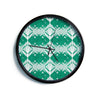 "Alison Coxon ""Diamond"" Teal White Modern Wall Clock"