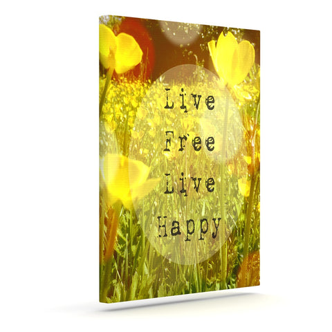 "Alison Coxon ""Live Free"" Yellow Green Outdoor Canvas Wall Art - KESS InHouse  - 1"