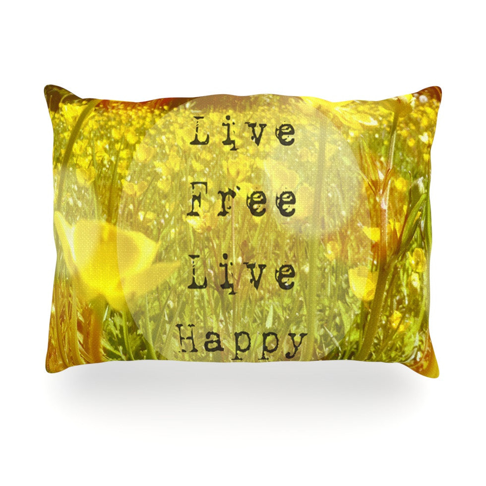 "Alison Coxon ""Live Free"" Yellow Green Oblong Pillow - KESS InHouse"