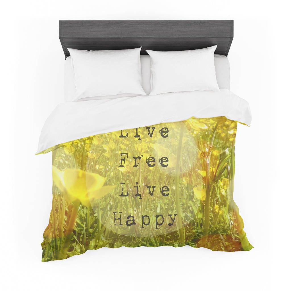 "Alison Coxon ""Live Free"" Yellow Green Featherweight Duvet Cover"