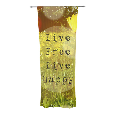 "Alison Coxon ""Live Free"" Yellow Green Decorative Sheer Curtain - KESS InHouse"
