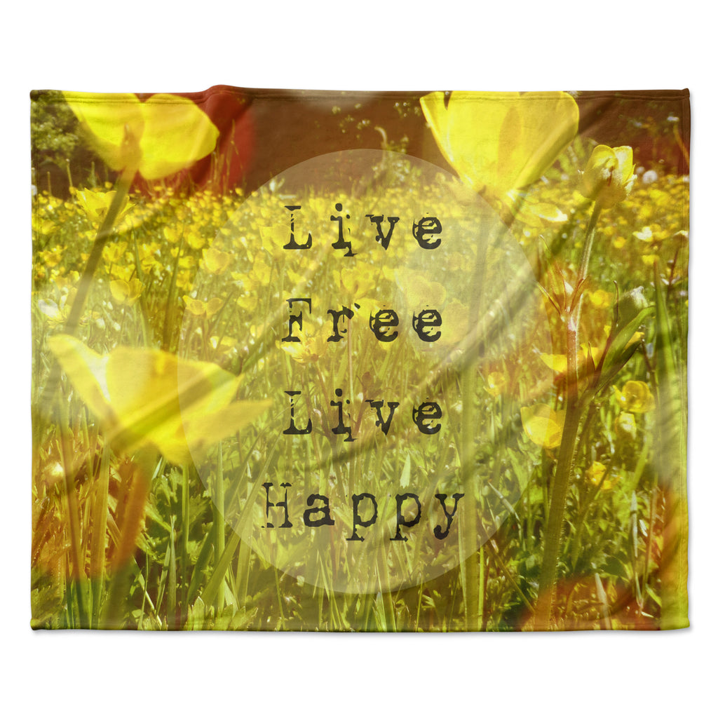 "Alison Coxon ""Live Free"" Yellow Green Fleece Throw Blanket"