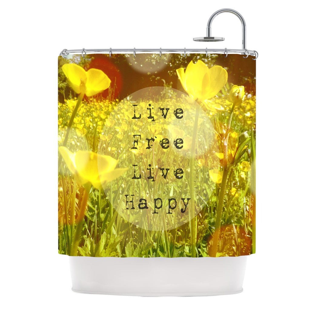 "Alison Coxon ""Live Free"" Yellow Green Shower Curtain - KESS InHouse"