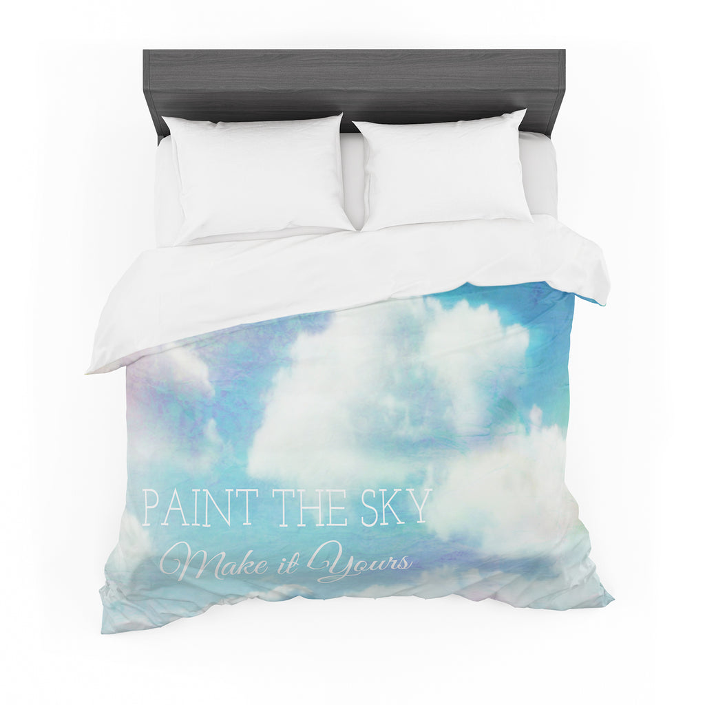 "Alison Coxon ""Paint the Sky!"" Blue White Featherweight Duvet Cover"