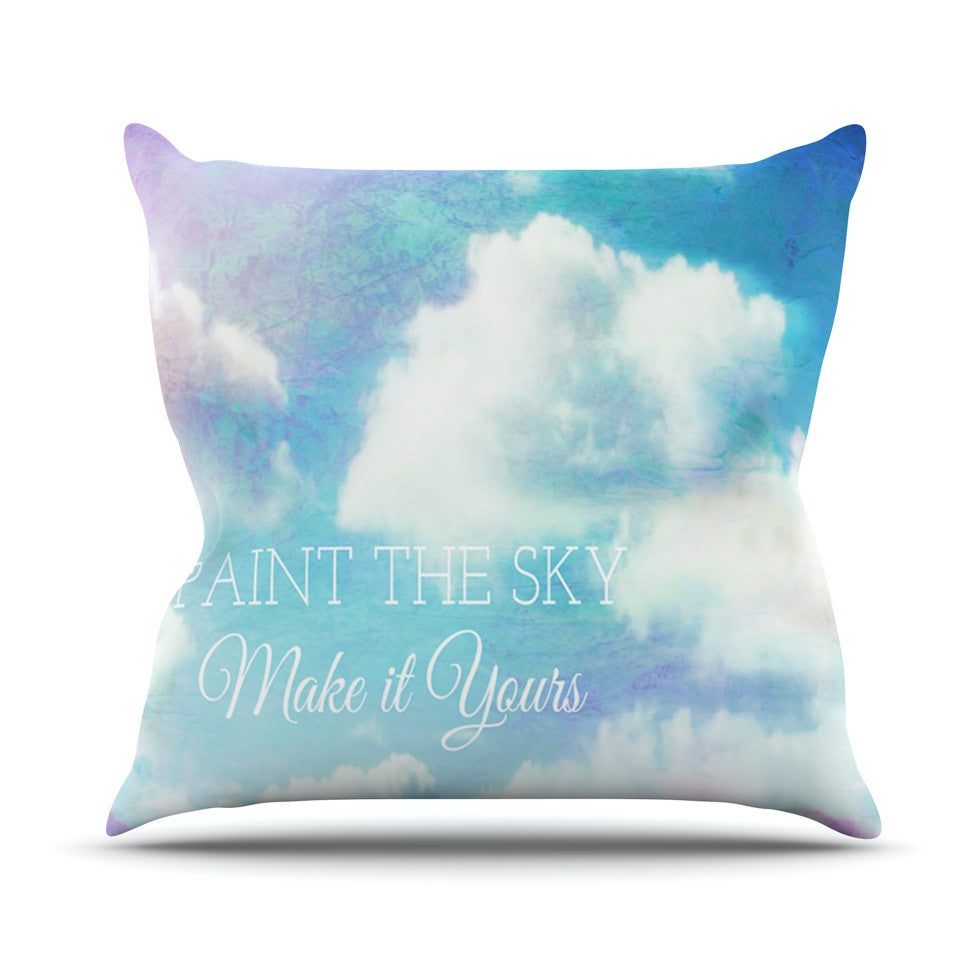"Alison Coxon ""Paint the Sky!"" Blue White Outdoor Throw Pillow - KESS InHouse  - 1"