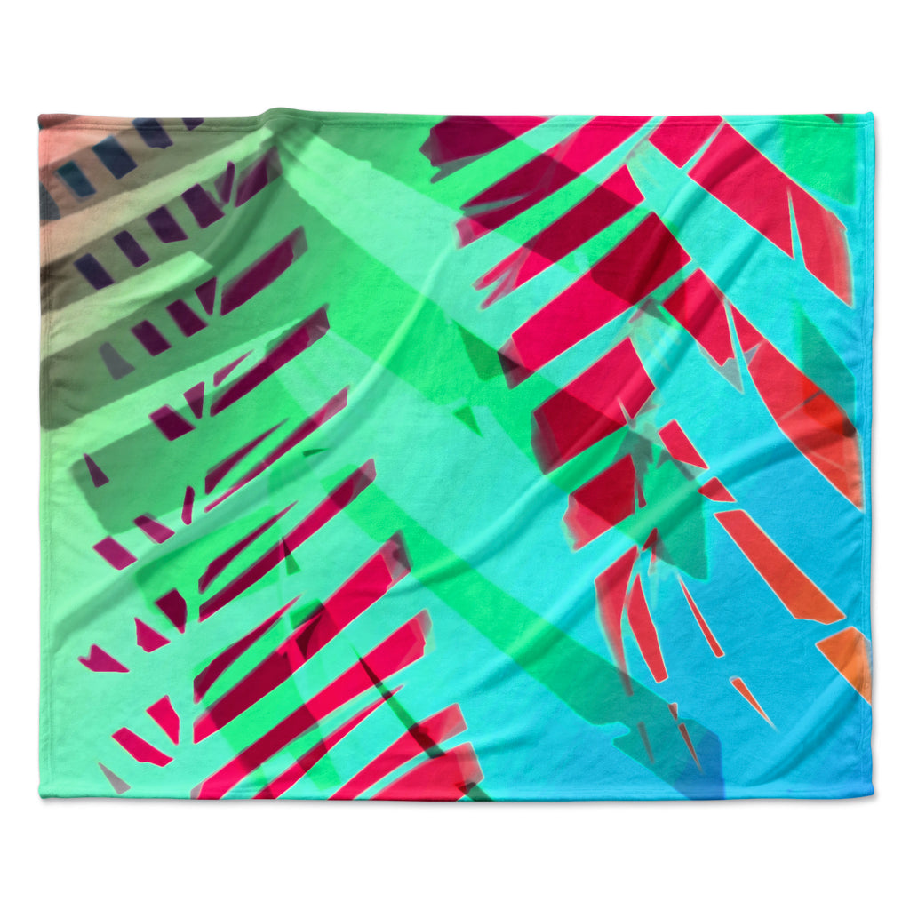 "Alison Coxon ""Cool Tropical"" Blue Green Fleece Throw Blanket"