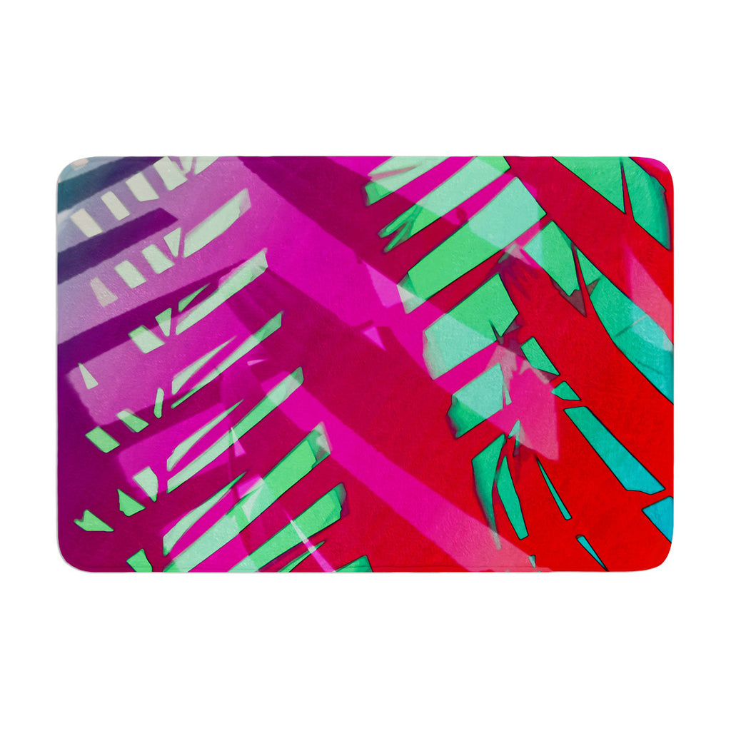 "Alison Coxon ""Hot Tropical"" Pink Red Memory Foam Bath Mat - KESS InHouse"
