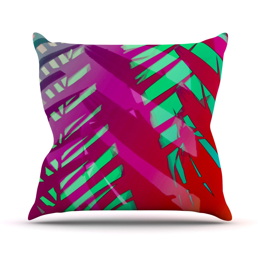 "Alison Coxon ""Hot Tropical"" Pink Red Outdoor Throw Pillow - KESS InHouse  - 1"