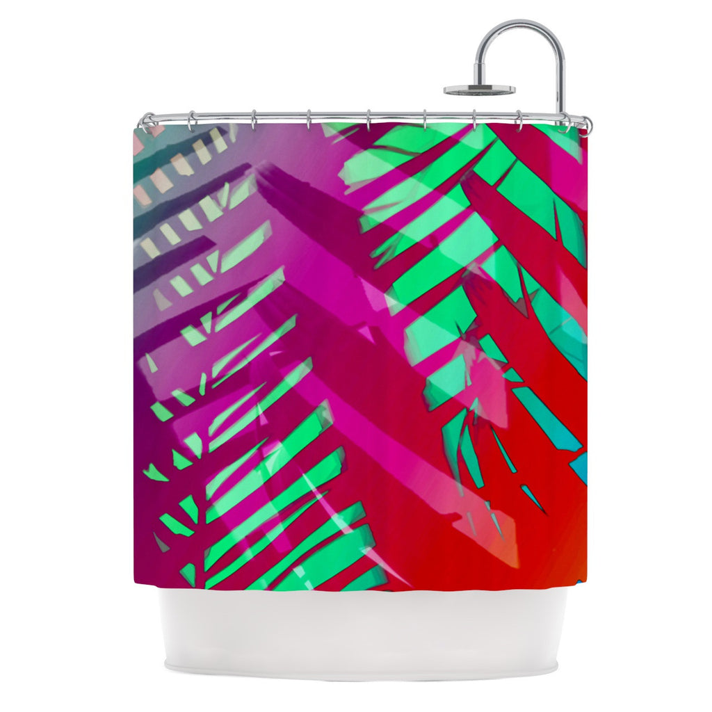 "Alison Coxon ""Hot Tropical"" Pink Red Shower Curtain - KESS InHouse"