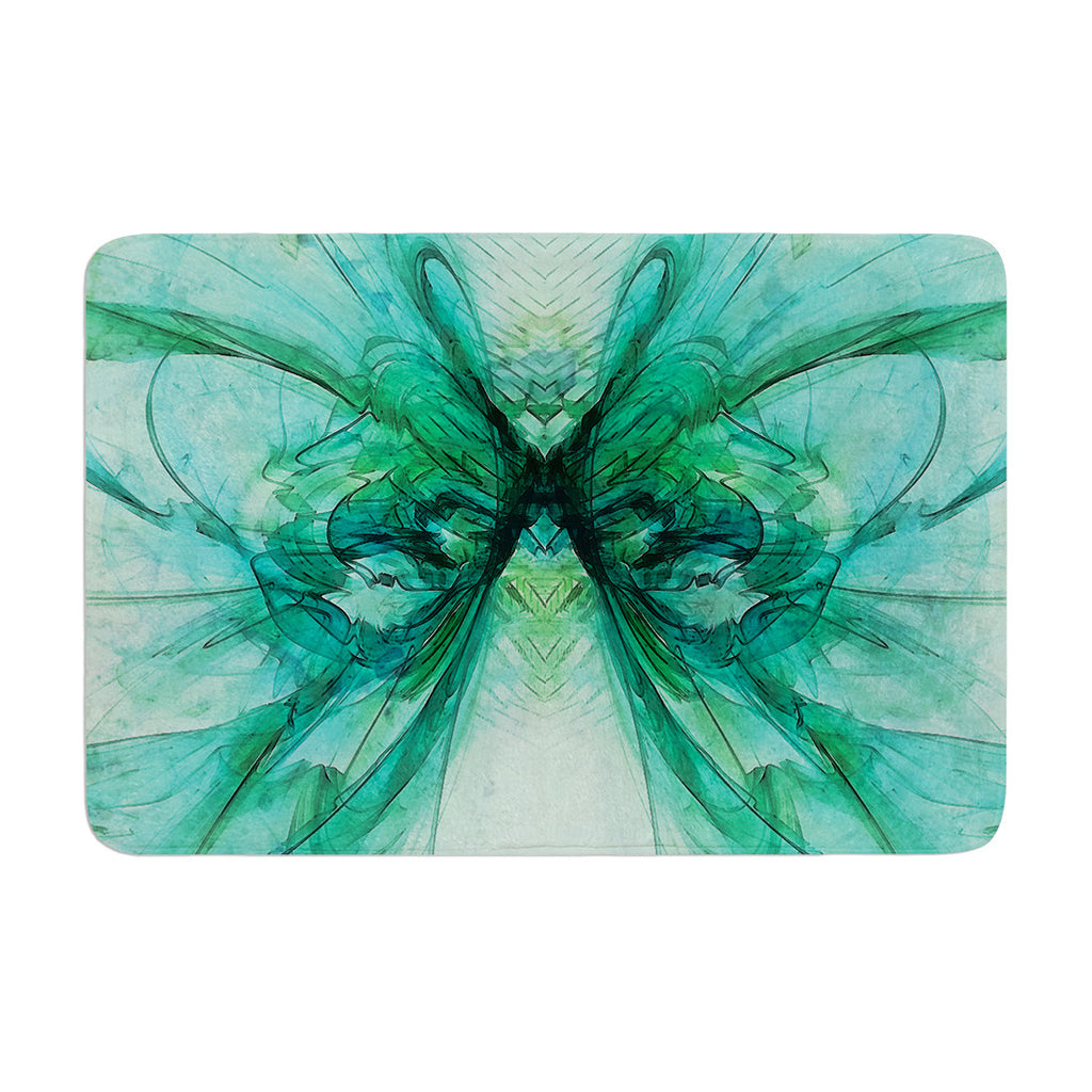 "Alison Coxon ""Butterfly Blue"" Green Black Memory Foam Bath Mat - KESS InHouse"