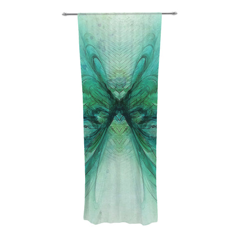 "Alison Coxon ""Butterfly Blue"" Green Black Decorative Sheer Curtain - KESS InHouse"