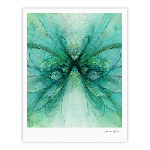 "Alison Coxon ""Butterfly Blue"" Green Black Fine Art Gallery Print - KESS InHouse"