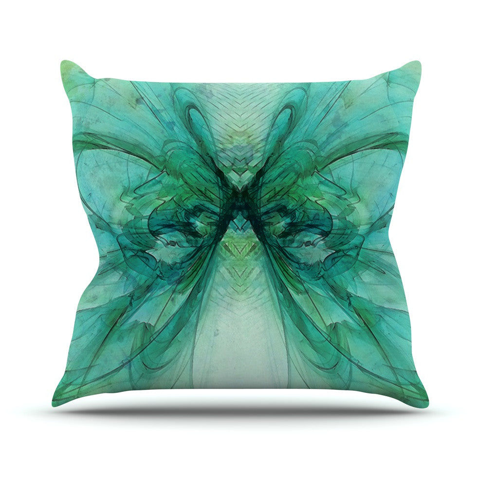 "Alison Coxon ""Butterfly Blue"" Green Black Throw Pillow - KESS InHouse  - 1"