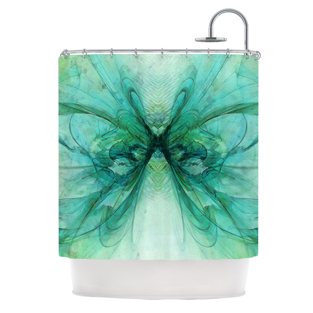"Alison Coxon ""Butterfly Blue"" Green Black Shower Curtain - KESS InHouse"