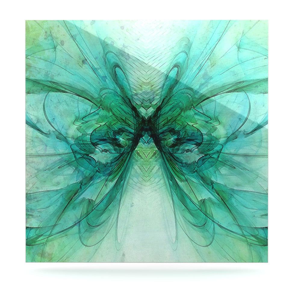 "Alison Coxon ""Butterfly Blue"" Green Black Luxe Square Panel - KESS InHouse  - 1"