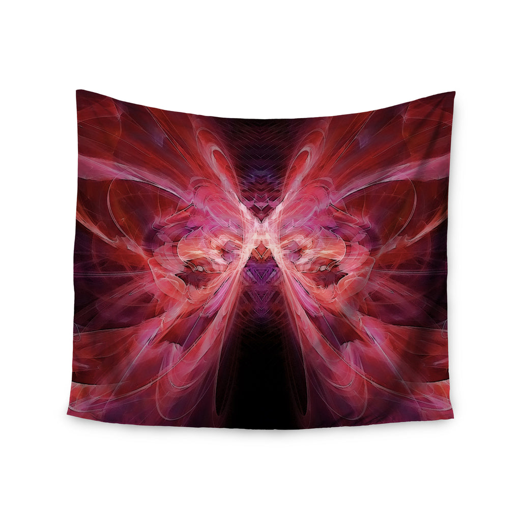 "Alison Coxon ""Butterfly Red"" Red Pink Wall Tapestry - KESS InHouse  - 1"