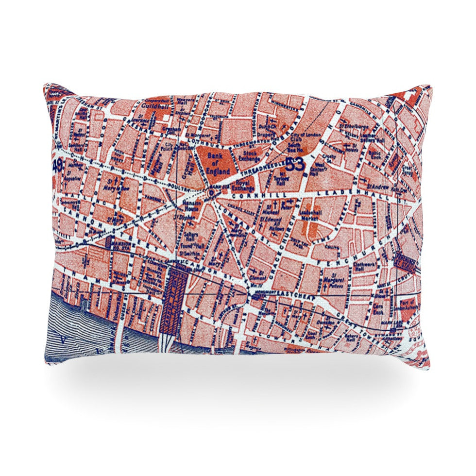 "Alison Coxon ""City Of London"" Map Oblong Pillow - KESS InHouse"