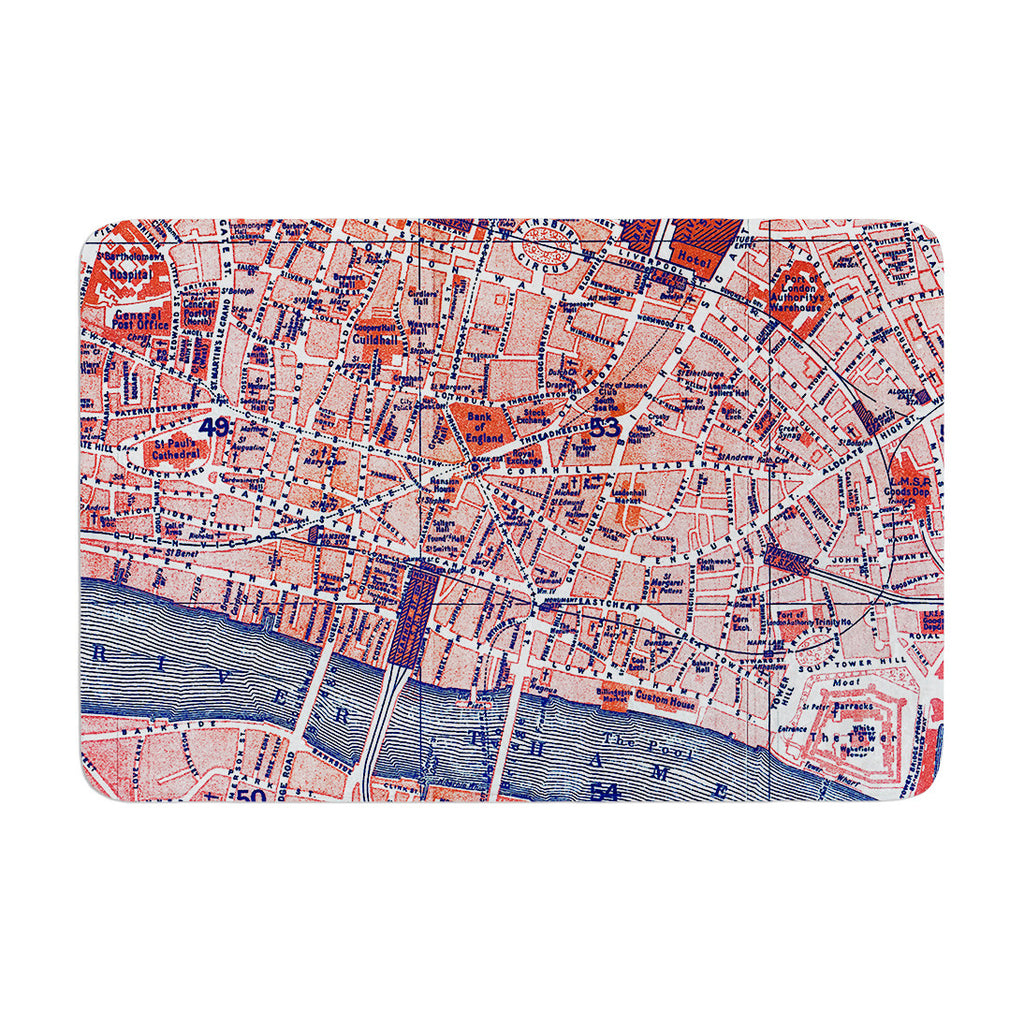 "Alison Coxon ""City Of London"" Map Memory Foam Bath Mat - KESS InHouse"