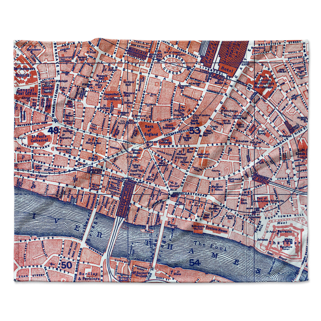 "Alison Coxon ""City Of London"" Map Fleece Throw Blanket"