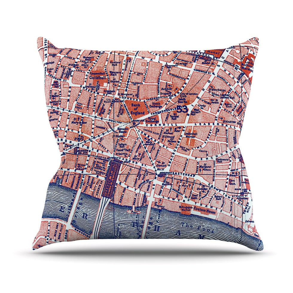 "Alison Coxon ""City Of London"" Map Outdoor Throw Pillow - KESS InHouse  - 1"