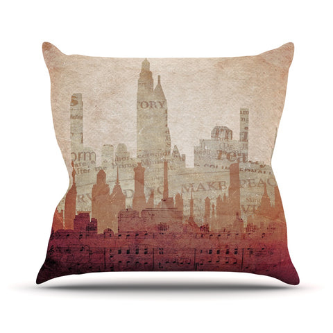 "Alison Coxon ""City"" Warm Tan Throw Pillow - Outlet Item"