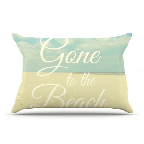 "Alison Coxon ""Gone To The Beach"" Tan Blue Pillow Sham - KESS InHouse  - 1"
