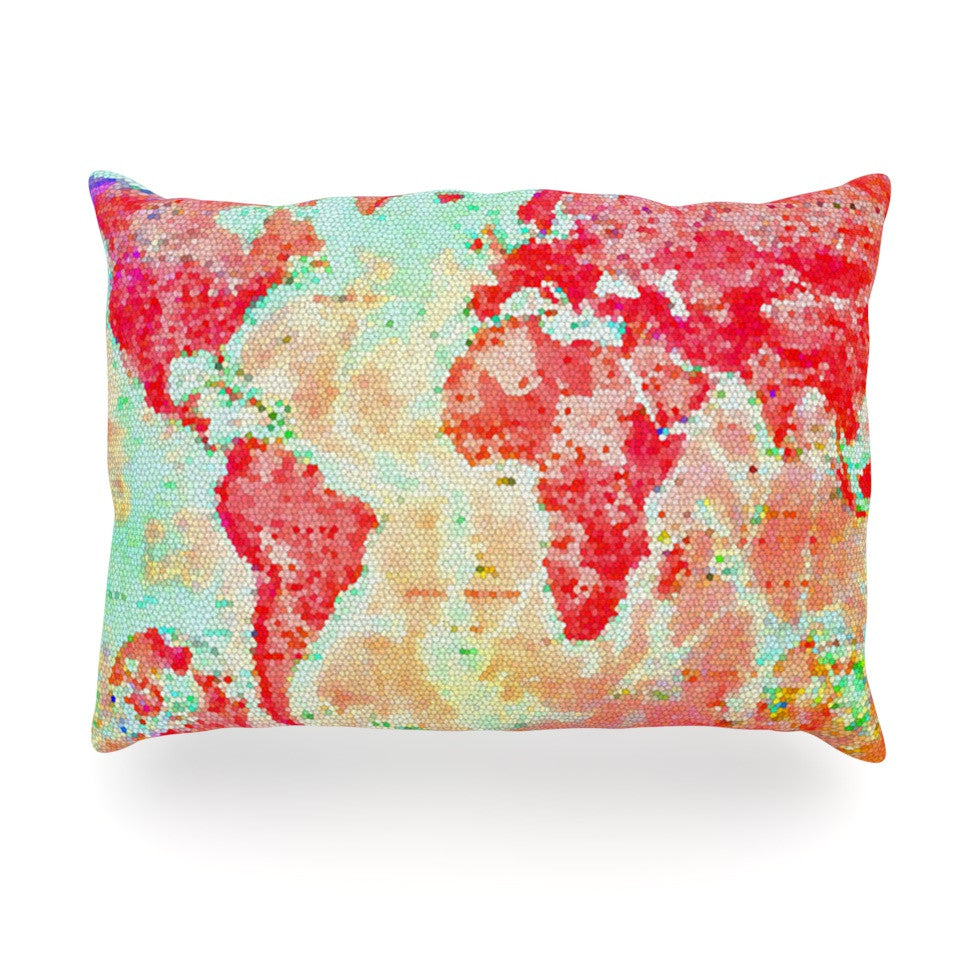 "Alison Coxon ""Oh The Places We'll Go"" World Map Oblong Pillow - KESS InHouse"