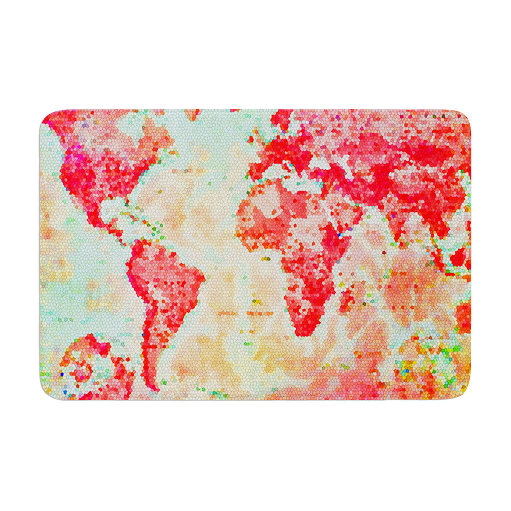 "Alison Coxon ""Oh The Places We'll Go"" World Map Memory Foam Bath Mat - KESS InHouse"