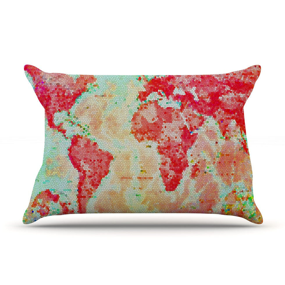 "Alison Coxon ""Oh The Places We'll Go"" World Map Pillow Sham - KESS InHouse  - 1"