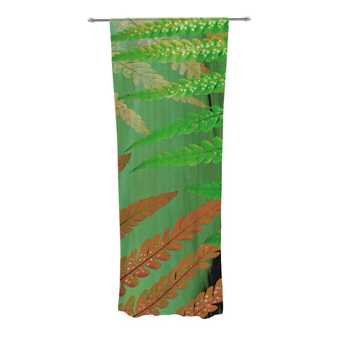 "Alison Coxon ""Forest Fern Russet"" Green Brown Decorative Sheer Curtain - KESS InHouse"