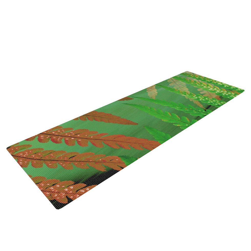 "Alison Coxon ""Forest Fern Russet"" Green Brown Yoga Mat - KESS InHouse  - 1"