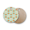"Alison Coxon ""Moorish Teal"" White Teal Round Wooden Cutting Board"
