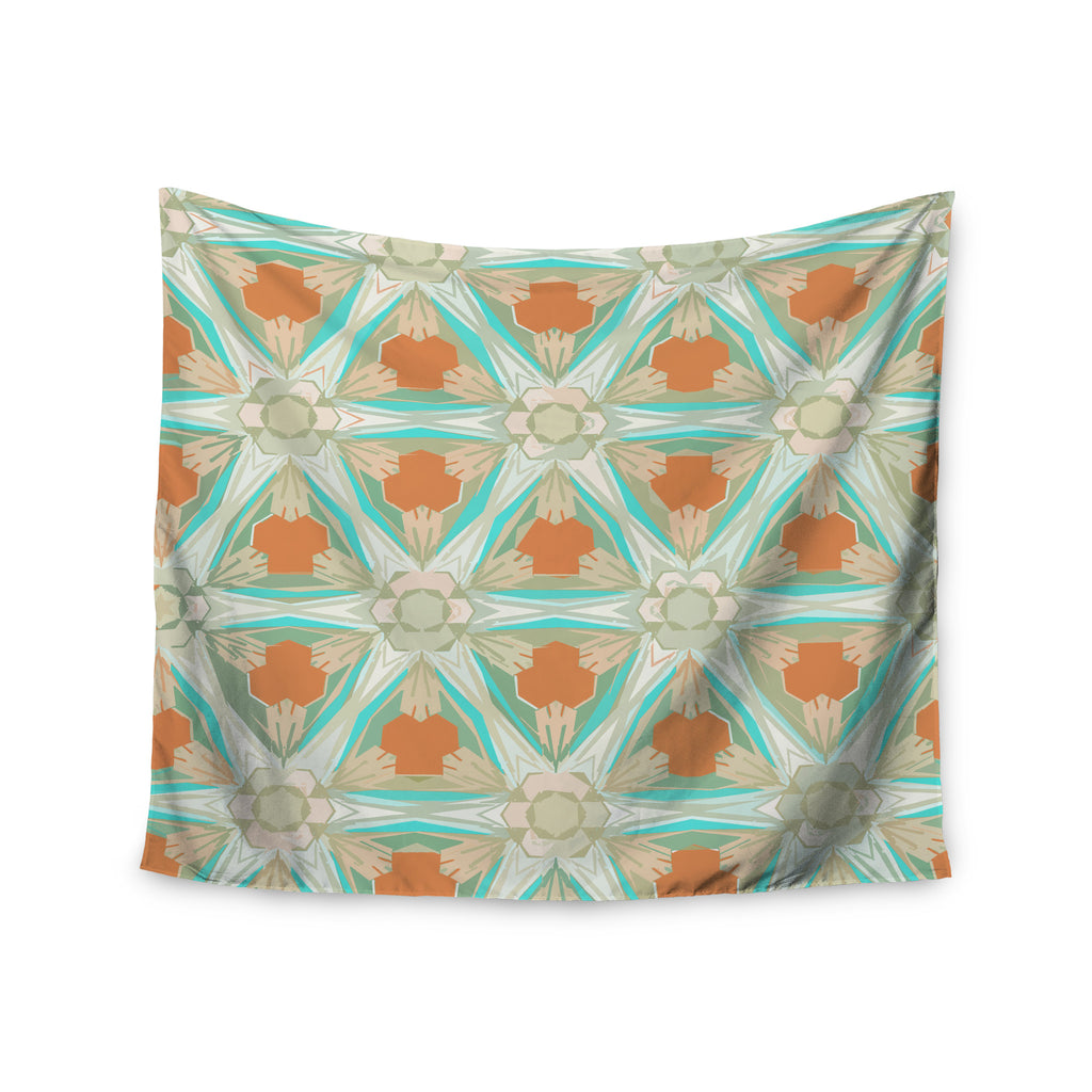 "Alison Coxon ""Moorish Teal"" White Teal Wall Tapestry - KESS InHouse  - 1"