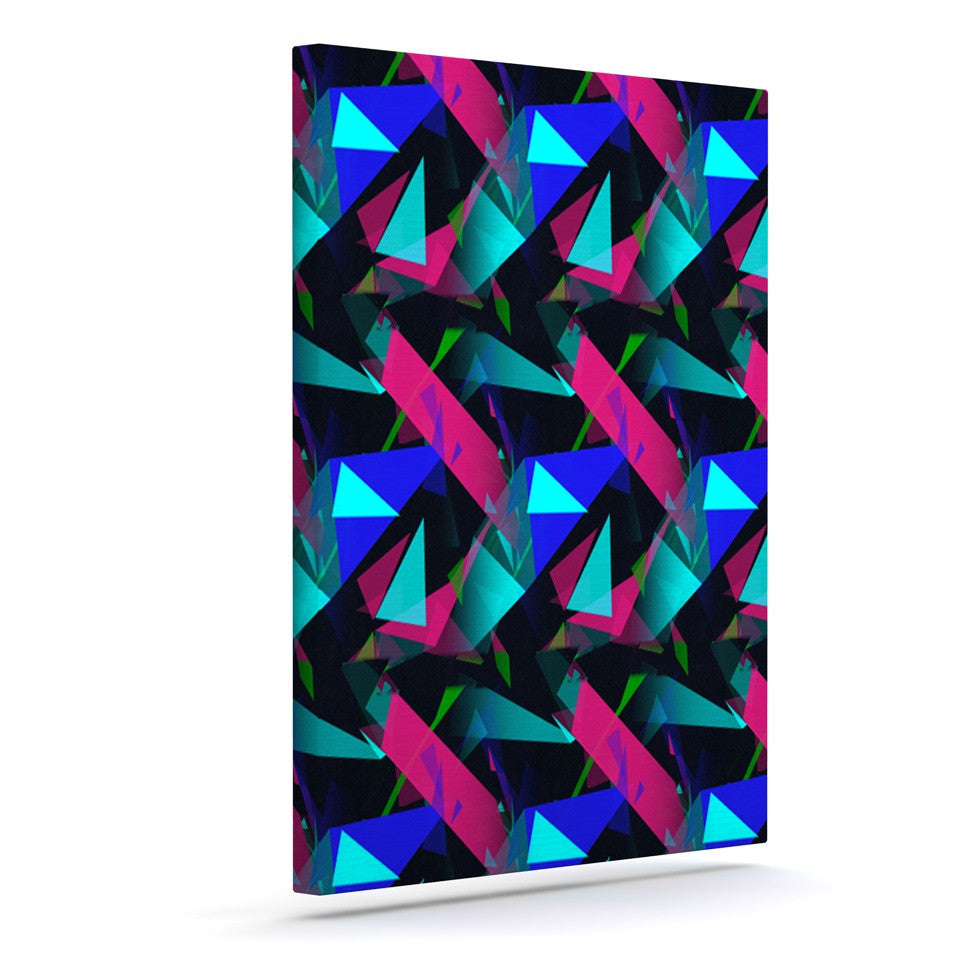 "Alison Coxon ""Confetti Triangles Dark"" Magenta Blue Canvas Art - KESS InHouse  - 1"