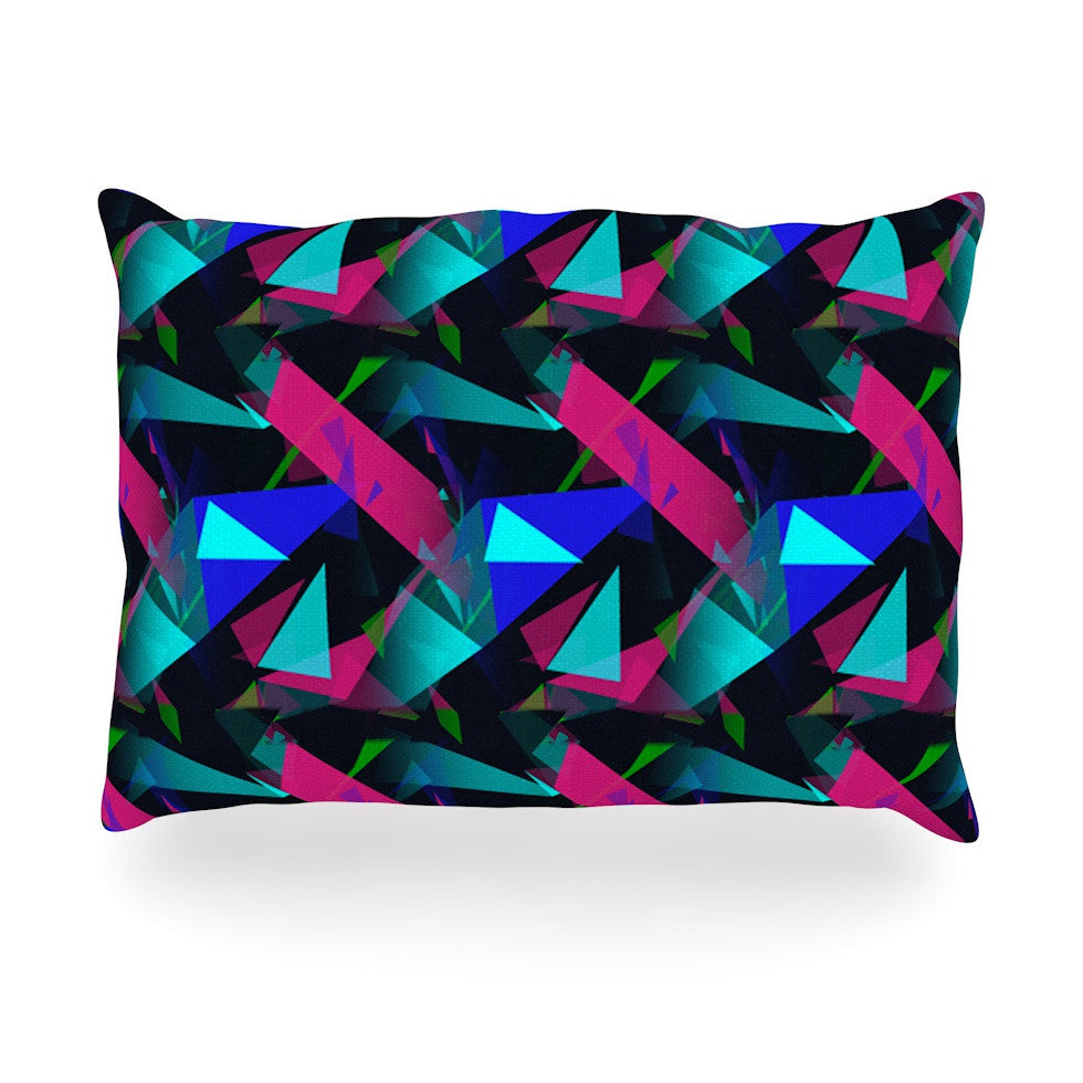 "Alison Coxon ""Confetti Triangles Dark"" Magenta Blue Oblong Pillow - KESS InHouse"