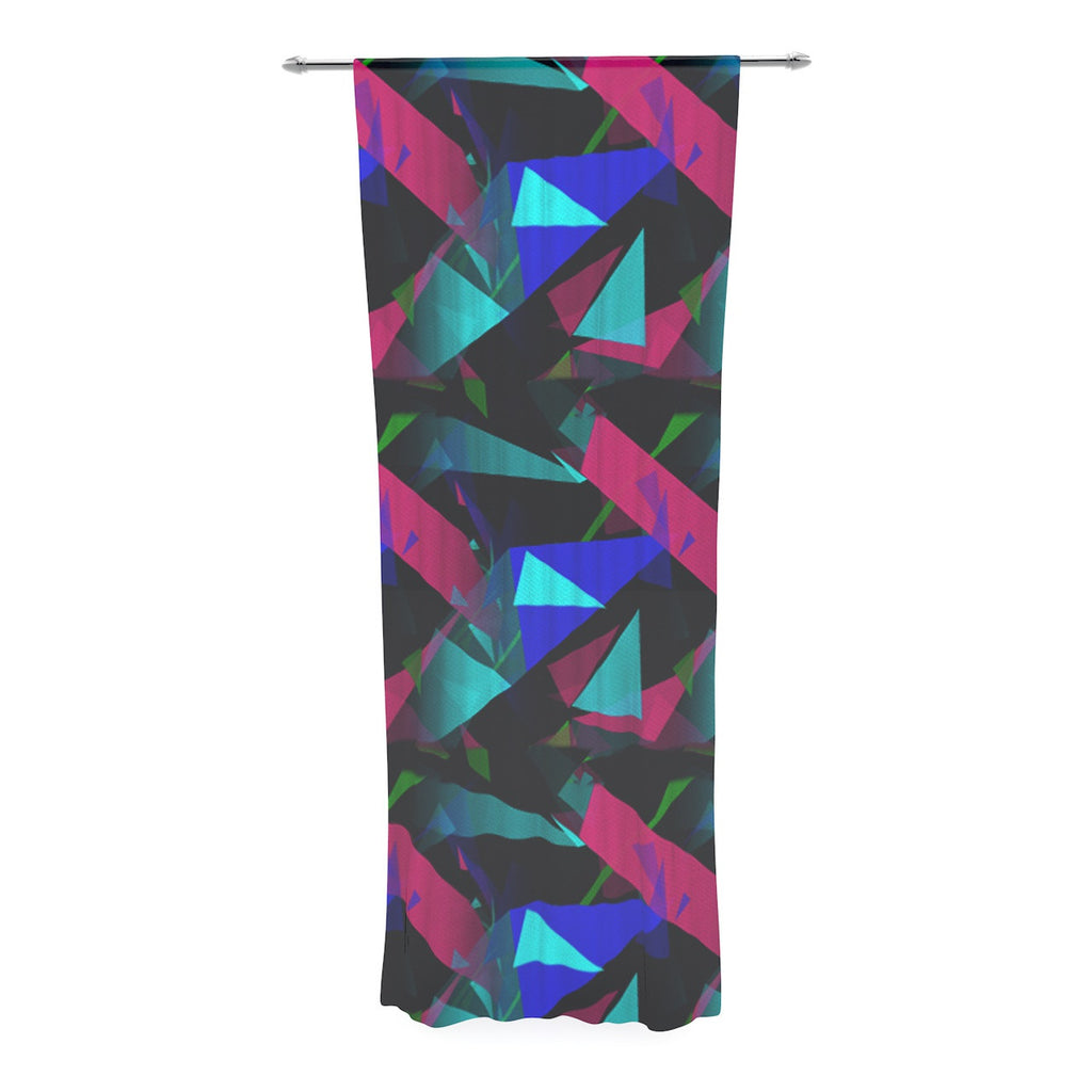 "Alison Coxon ""Confetti Triangles Dark"" Magenta Blue Decorative Sheer Curtain - KESS InHouse  - 1"