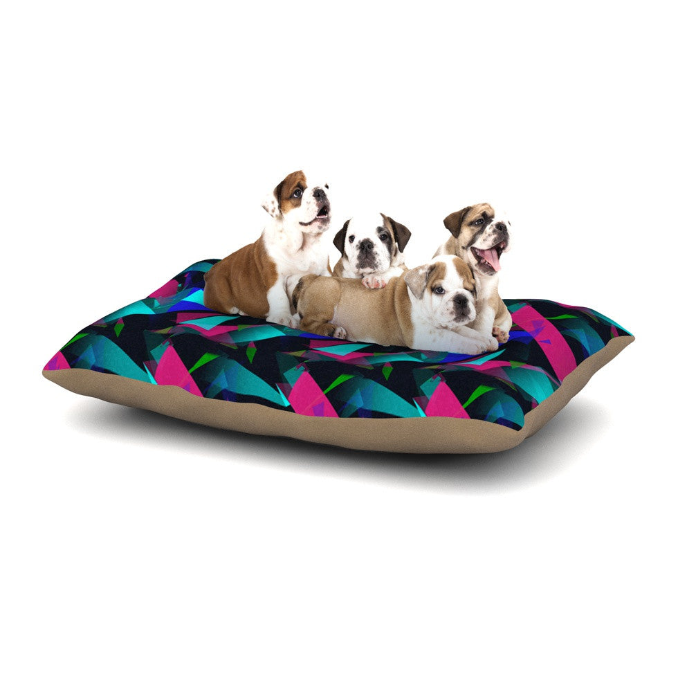 "Alison Coxon ""Confetti Triangles Dark"" Magenta Blue Dog Bed - KESS InHouse  - 1"