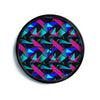 "Alison Coxon ""Confetti Triangles Dark"" Magenta Blue Modern Wall Clock"