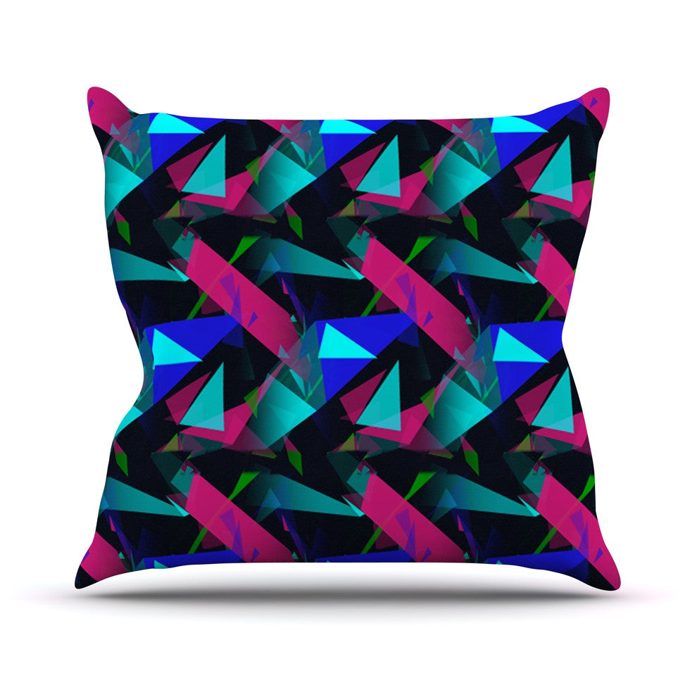 "Alison Coxon ""Confetti Triangles Dark"" Magenta Blue Throw Pillow - KESS InHouse  - 1"