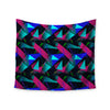 "Alison Coxon ""Confetti Triangles Dark"" Magenta Blue Wall Tapestry - KESS InHouse  - 1"