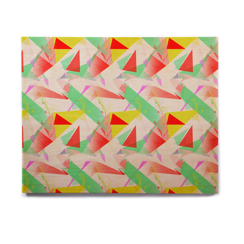 "Alison Coxon ""Confetti Triangles Red"" Green Red Birchwood Wall Art - KESS InHouse  - 1"