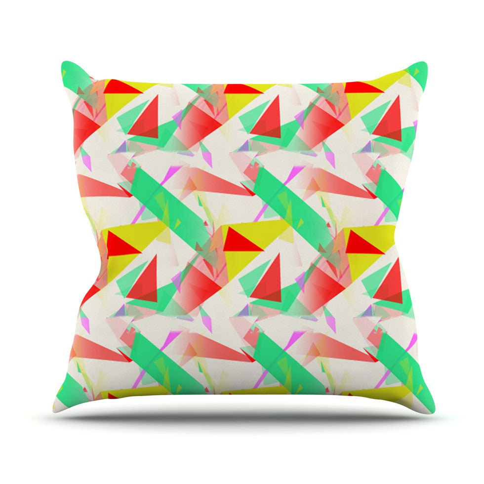 "Alison Coxon ""Confetti Triangles Red"" Green Red Outdoor Throw Pillow - KESS InHouse  - 1"